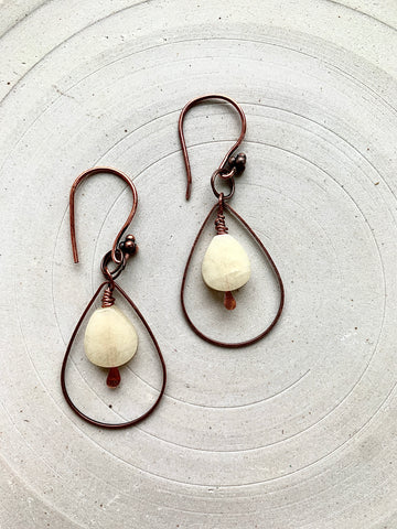 Copper and Honey Jade Earrings