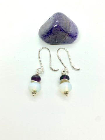 Sterling Silver, Moonstone & Amethyst Drop Earrings