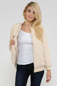 Women's Quilted Zip Up Bomber Jacket