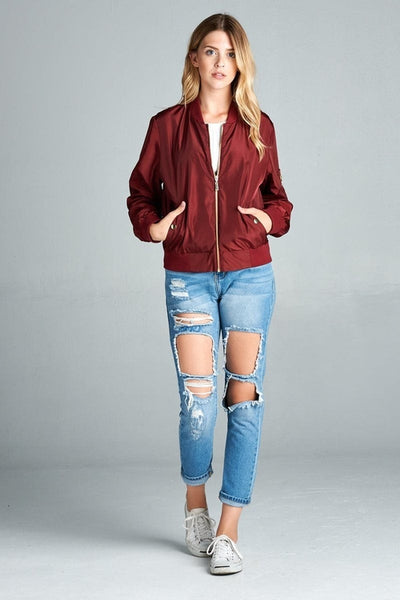Women's Light Weight Bomber Jacket (Burgundy)