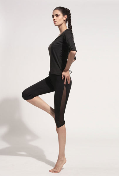 Athleisure woman leggings hot sale mesh splice fitness calf-length cropped slim