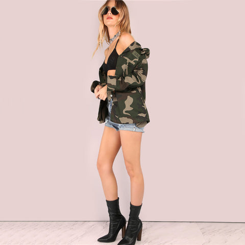 Lightweight Camo Patch Button Down Jacket Single Breasted Women's New Fashion Autumn Jacket