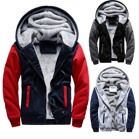 Men's M - 5XL Hoodie Winter Warm Fleece Zipper Jacket Outwear Coat