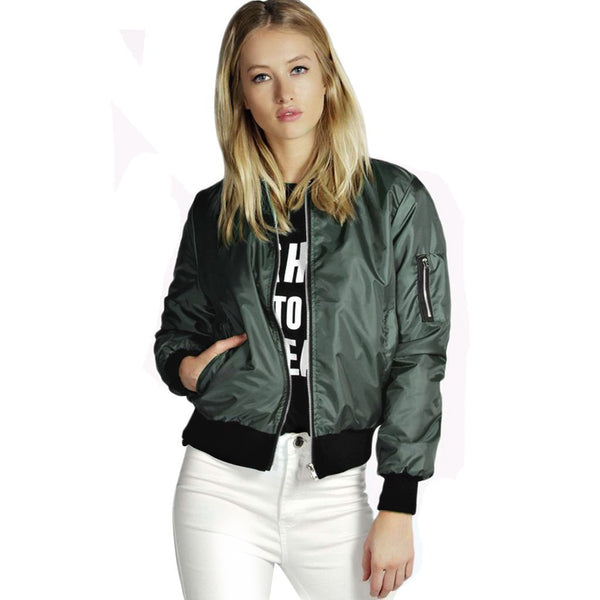 Female jacket zip up bomber biker jacket padded fashion women's jacket