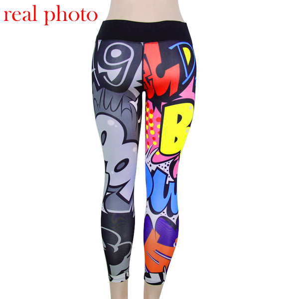 Funny print harajuku fitness legging female pants bodybuilding jeggings athleisure sportswear woman