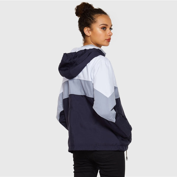 Women Multi-color Casual Elegant Cut Hooded Windbreaker Jacket