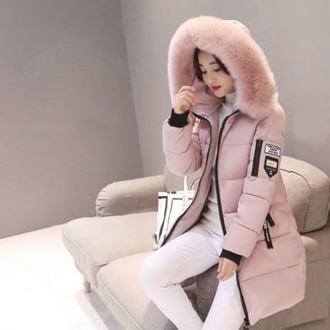 Warm Fur Hooded Quilted Coat Winter Jacket Women's Solid Color Zipper Down Cotton Parka Outwear