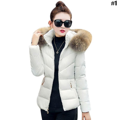 Fashion Slim Hooded Padded Jacket Large Size Thicken Cotton Jacket Women's