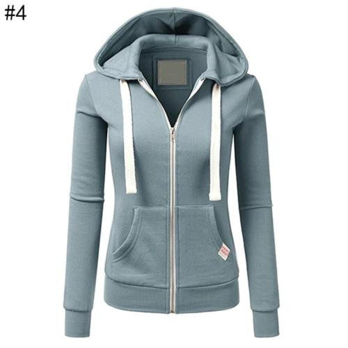 Autumn Winter Solid Color Sport Hoodie Women's Casual Drawstring Zipper Jacket