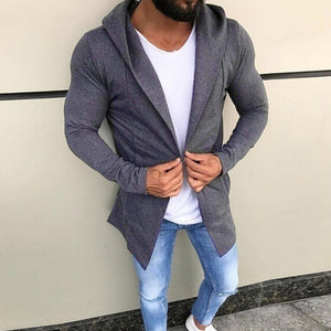 Men's Casual Solid Color Cardigan Sweater Slim Fit Hoodies Cotton Jacket Coat