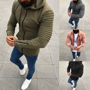 Men's Jacket Autumn Casual Zipper Coat Slim Fit Pullovers Outwear Hoodies Blouse