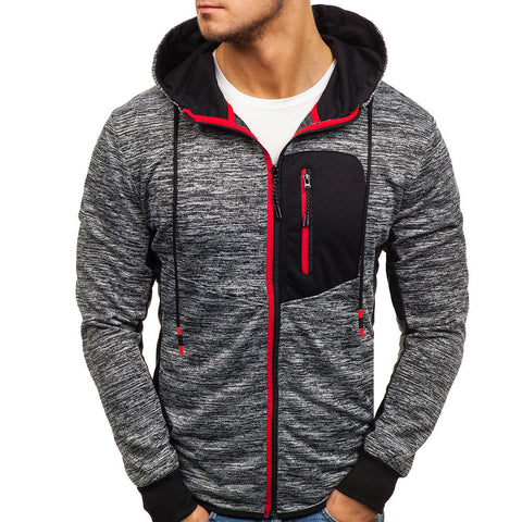 Men's Autumn Winter Zip Casual Long Sleeve Slim Pocket Fit Hoodies Jacket Coat
