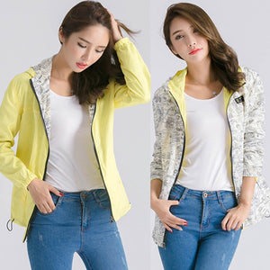Women's Fashion Two Side Print Wear Hooded Loose Pocket Jacket Coat Outwear