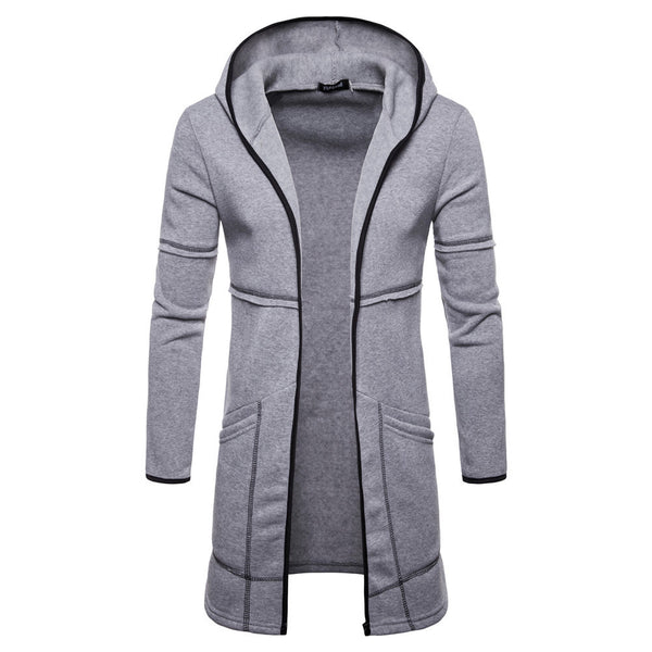 Fashion Men's Hooded Solid Trench Coat Jacket Cardigan Long Sleeve Outwear Blouse