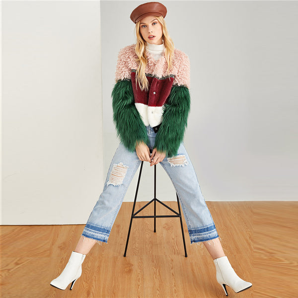 Beautiful Multi-color Faux Fur Coat Casual Long Sleeve Outerwear Women Winter Modern Lady Coats