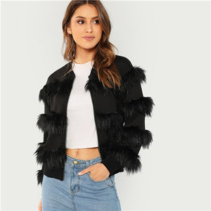 Black Elegant O-Ring Zip Up Faux Fur Fashion Coat Coats And Outerwear for Women
