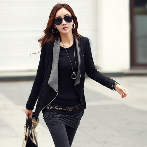 Jacket Women's Slim Blazer Black Fit Outwear Zipper Fashion Casual Coat Outwear