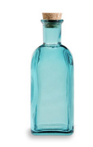 Spanish Recycled Glass Bottle w/Cork ( 17 oz.) - Blue
