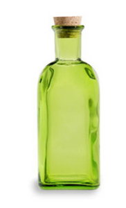 Spanish Recycled Glass Bottle w/Cork (3 oz) - Green