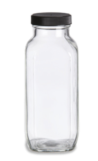 Clear French Square Bottle - 8 oz.
