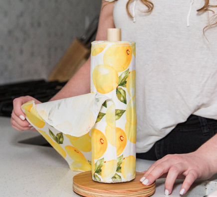 Reusable UNpaper® Towels Lemon Print - 24 PreRolled w/ Wood Holder