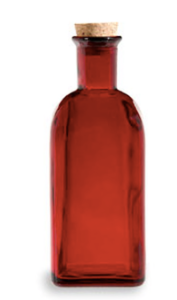 Spanish Recycled Glass Bottle w/Cork (17 oz) - Red