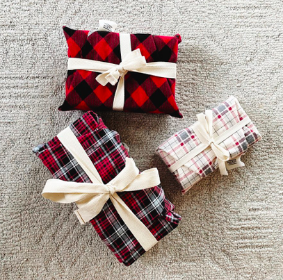 Reusable Gift Wrap - Red and Gray Plaid