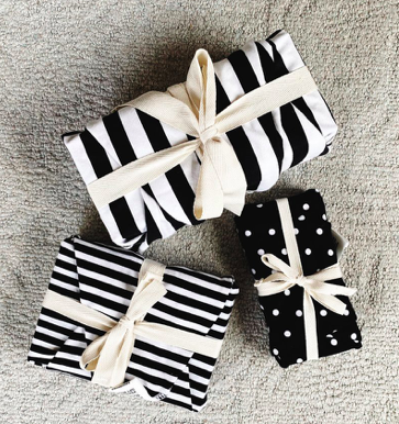 Reusable Gift Wrap - Black and White Mix