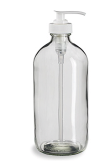 Clear Boston Round w/Pump - 8 oz