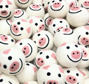Wool Dryer Balls - Pink Pigs (6-pack)