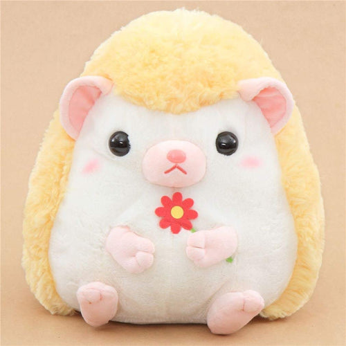 Amuse Big light cream yellow hedgehog Harin the Hedeghog plush toy Japan