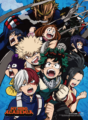 My Hero Academia - Midoriya, Todoroki, Bakugo and Froppy Group Wall Scroll
