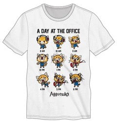 Aggretsuko A Day at The Office  Adult Male Crew All White T-Shirt Tee Shirt