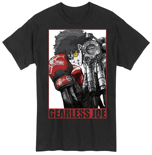 Megalobox Gearless Joe White Background Adult Male Crew All Black T-Shirt Tee Shirt