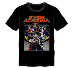 My Hero Academia Group  Adult Male Crew All Black T-Shirt Tee Shirt