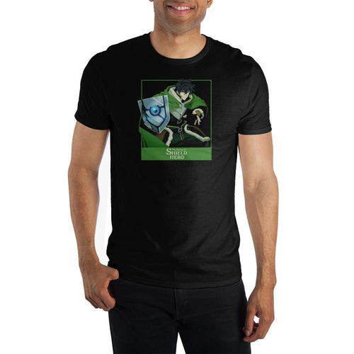 The Rising of The Shield Hero Naofumi  Adult Male Crew All Black T-Shirt Tee Shirt
