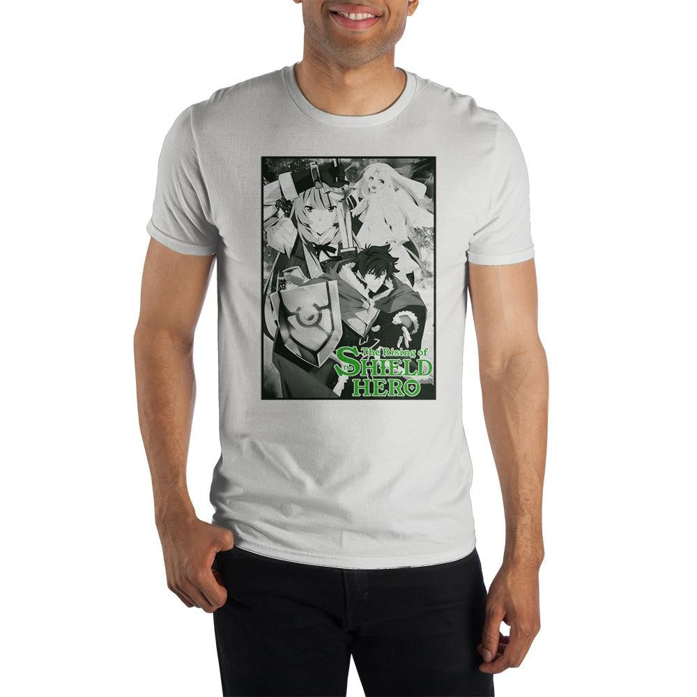 The Rising of The Shield Hero Group Adult Male Crew All White T-Shirt Tee Shirt