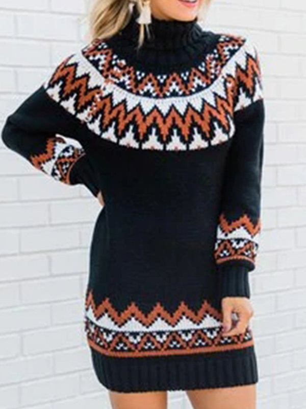 Printed Mid-Length Knit Dress