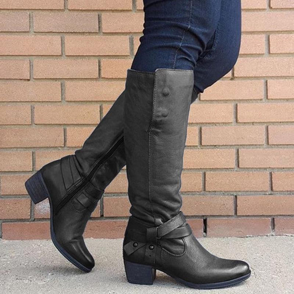 Buckle Zipper Chunky Heel Solid Boots