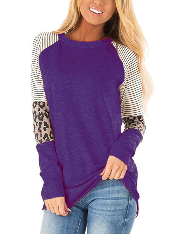 Casual Stitching Long Sleeve T-shirt With Crew Neck