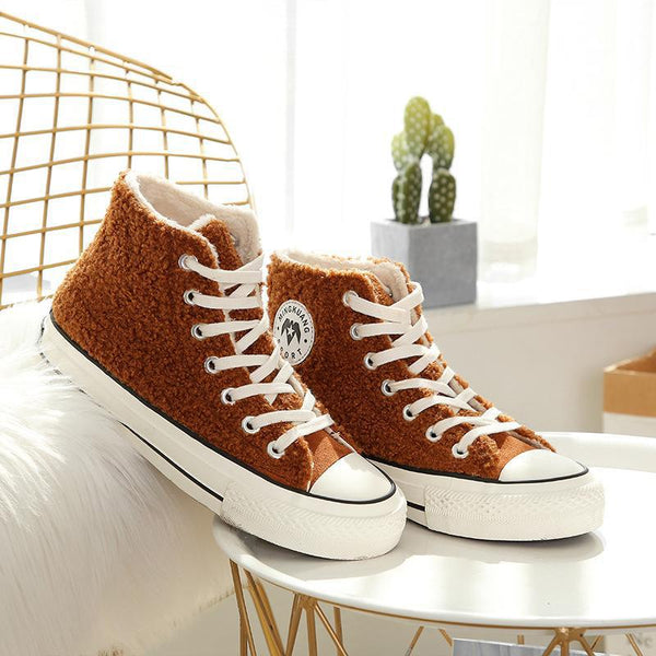 Womens Casual  Warm Fluffy Lace-up Flat
