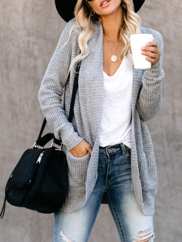 Gray Loose Solid Sweater