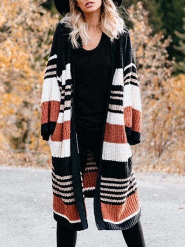 Loose Long Stripe Color Block Sweater