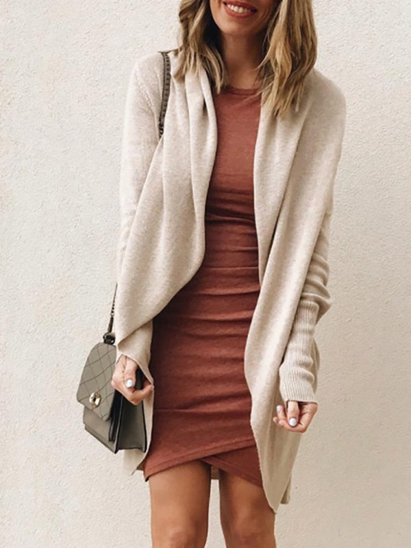 Khaki Solid With Pocket Knit Coat