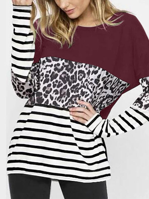 Long Sleeve Leopard Print & Striped Top