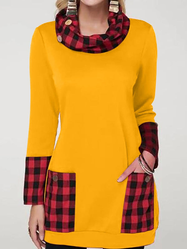 Stand-up Collar Long Sleeve Shirt with Plaid Print