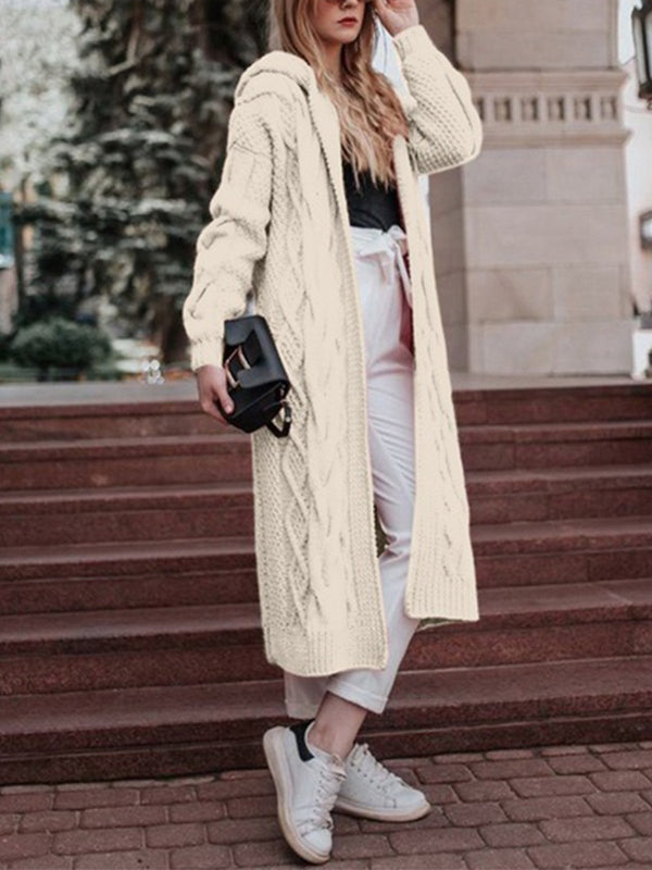 Plus Size Solid With Hood Sweat Cardigan Long Coat