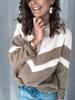 Color Block Turtleneck Knit Sweater