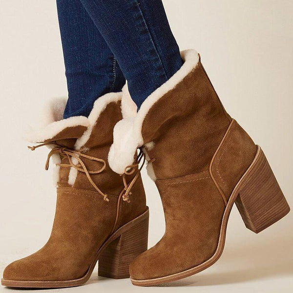 Women's Lace-up Chunky Heel Folding Snow Boots