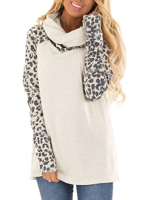 Fashion Shawl Collar Shirt with Leopard Print